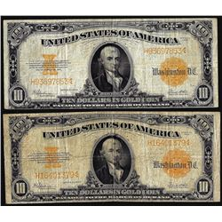 Lot of (2) 1922 $10 Gold Certificate Notes