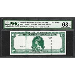 """1929 10 Unit American Bank Note Co. """"Test Note"""" PMG Choice Uncirculated 63EPQ"""