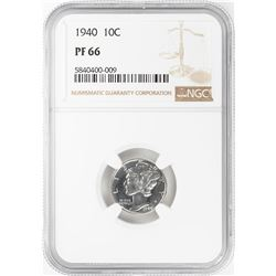 1940 Proof Mercury Dime Coin NGC PF66