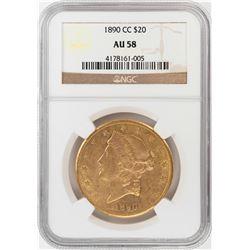 1890-CC $20 Liberty Head Double Eagle Gold Coin NGC AU58