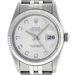 Rolex Men's Stainless Silver Diamond 36MM Datejust Wristwatch