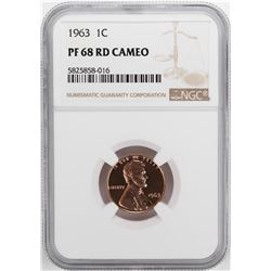 1963 Proof Lincoln Memorial Cent Coin NGC PF68RD Cameo