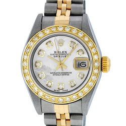Rolex Ladies Quickset Two Tone Mother Of Pearl Diamond Datejust Wristwatch