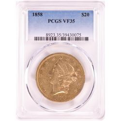 1858 $20 Liberty Head Double Eagle Gold Coin PCGS VF35