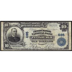 1902 PB $10 Farmers Deposit NB of Pittsburgh, PA CH # 685 National Currency Note