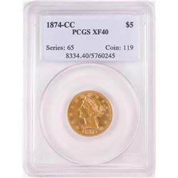 1874-CC $5 Liberty Half Eagle Gold Coin PCGS XF40