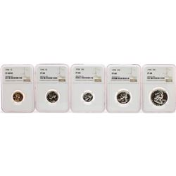 1958 (5) Coin Proof Set Graded NGC PF68