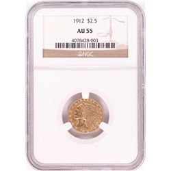 1912 $2 1/2 Indian Head Quarter Eagle Gold Coin NGC AU55