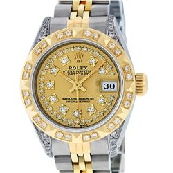 Rolex Ladies Two Tone 14K Champagne Diamond Lugs & Pyramid Datejust Wriswatch