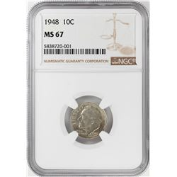 1948 Roosevelt Dime Coin NGC MS67