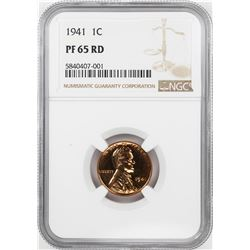 1941 Proof Lincoln Wheat Cent Coin NGC PF65RD