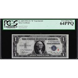 """1935A $1 """"R"""" Experimental Silver Certificate Note Fr.1609 PCGS Very Choice New 64PPQ"""
