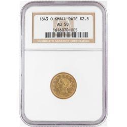 1843-O Small Date $2.5 Liberty Head Quarter Eagle Gold Coin NGC AU50