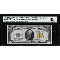 1934A $10 North Africa WWII Emergency Issue Silver Certificate Note PMG Gem Unc. 65EPQ