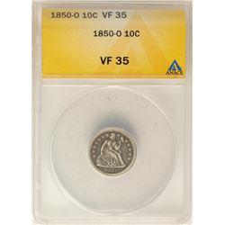 1850-O Seated Liberty Dime Coin ANACS VF35