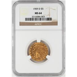 1909-D $5 Indian Head Half Eagle Gold Coin NGC MS64