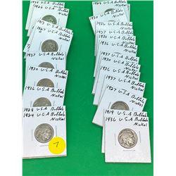 USA 1913-1937 BUFFALO NICKEL COLLECTION OF 26 COINS