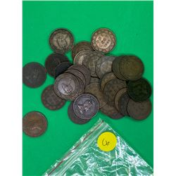 CANADA EDWARD VII LARGE CENTS LOT OF 32 COINS.