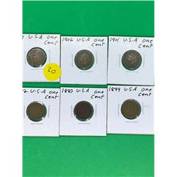 USA INDIAN HEAD ONE CENT LOT OF 6 COINS.