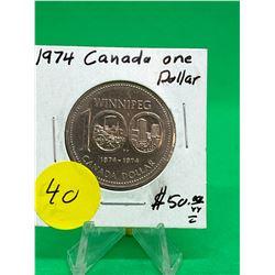 1974(DOUBLE YOKE) CANADA NICEKEL DOLLAR.NICE TYPE!