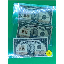 DOMINION OF CANADA 1923 SHINPLASTER LOT OF 3 NOTES