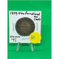 1899 (NARROW 9s)NEWFOUNDLAND 50 CENTS