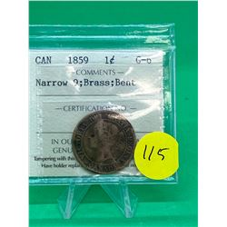 1859(BRASS) CANADA LARGE CENT.RARE!!!! ICCS GRADED G-6