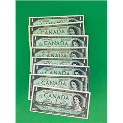 1967 $1 BANK OF CANADA LOT OF 8 CENTENNIAL NOTES.REGULAR SERIAL NUMBER