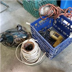 CRATE OF HOUSEHOLD WIRE AND BLACK AND DECKER TOOLS