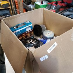 BOX OF METAL SHELVING BRACKETS, DVD RECORDABLE DISCS AND MORE