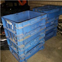 9 BLUE PARTS ORGANIZER BINS