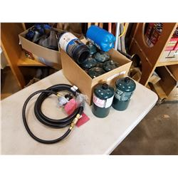 LOT OF PROPANE CANISTERS AND HOSE