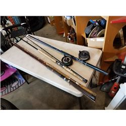 2 FISHING RODS W/ SHIRMANO REELS AND 3 PIECE ROD