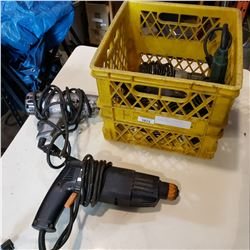 YELLOW CRATE OF IMPACT AND ELECTRIC DRILLS