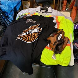 FOUR HARLEY DAVIDSON SHIRTS (M) & BASEBALL GLOVE WITH 2 HIGH VIS SHIRTS (2XL) AND JACKET (L)
