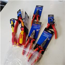 LOT OF NEW BENT LONG NOSE PLIERS AND WIRE STRIPPERS