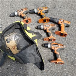 5 RIGID CORDLESS TOOLS ALL WORKING - NO BATTERY OR CHARGER