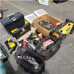 LARGE LOT OF WORKING TOOLS AND JOB RADIO