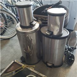 4 STAINLESS GARBAGE CANS