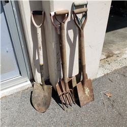 LOT OF SHOVELS AND PITCH FORK