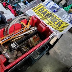 TOTE OF CABLE,TOOLS AND CHEMICAL GLOVES
