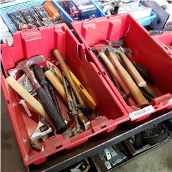 2 TOTES HAMMERS AND OTHER TOOLS
