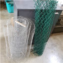 ROLL OF CHICKEN WIRE AND CHAIN LINK FENCE