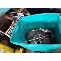 2 TOTES OF TOOL PULLEYS AND BELTS