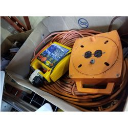 BOX OF EXTENSION CORDS AND BOX OF CAMP STOVE, ETC