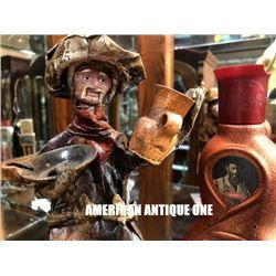 Antique bottle & figure set of 2