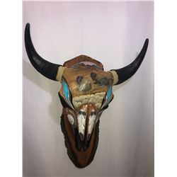 Custom Hand Painted Bison Skull