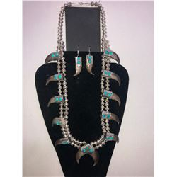 Bear Claw & Turquoise Silver Bead Squash Blossom Necklace and Matching Ear Rings