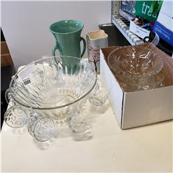 2 PUNCH BOWL SETS AND 2 VASES