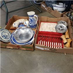 2 TRAYS OF BLUE AND WHITE PLATTERS, SERVING PIECES, METAL CANDLE STICKS, PEVGOT SHAKERS
